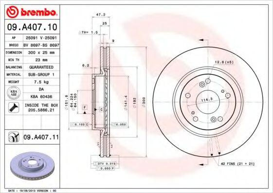Фото - Тормозной диск BREMBO - 09A40710