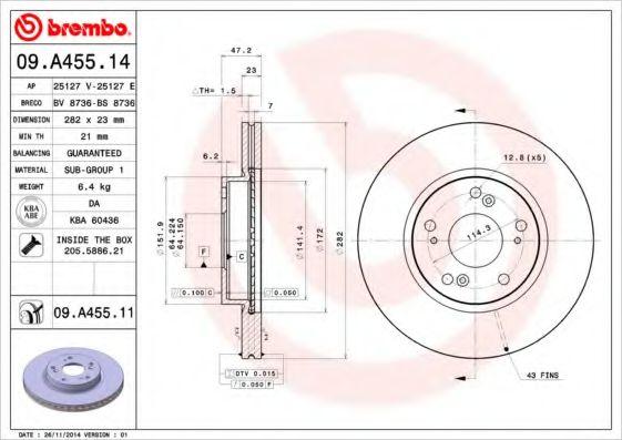 Тормозной диск Brembo  арт. 09A45514