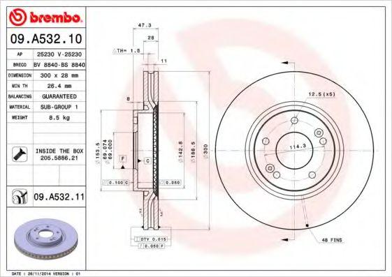 Тормозной диск Brembo  арт. 09A53210