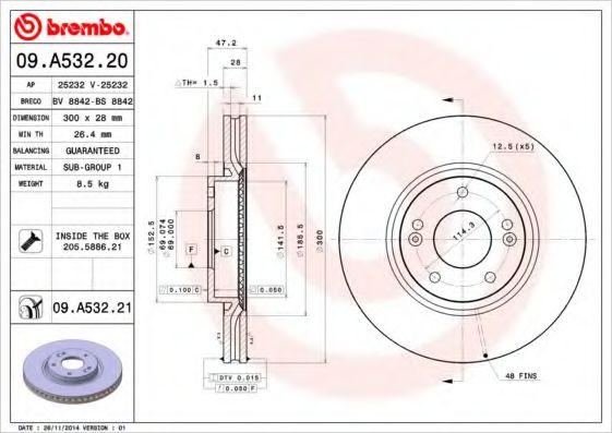 Тормозной диск Brembo  арт. 09A53220