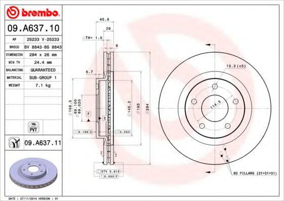 Тормозной диск  арт. 09A63711