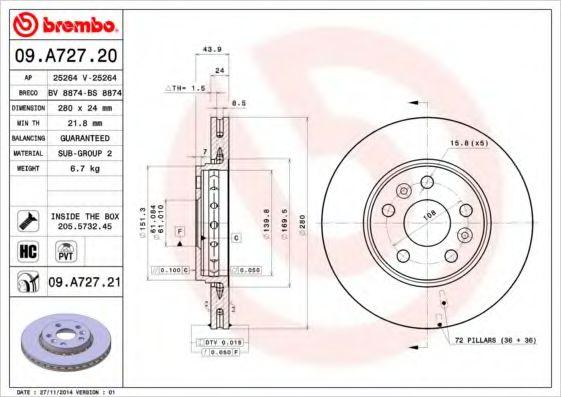 Тормозной диск Brembo BREMBO 09A72720