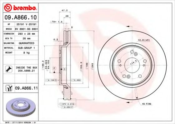 Тормозной диск Brembo BREMBO 09A86610