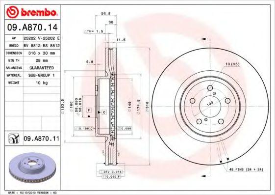 Тормозной диск Brembo BREMBO 09A87014