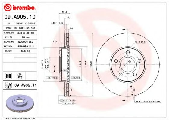 Тормозной диск Brembo BREMBO 09A90510