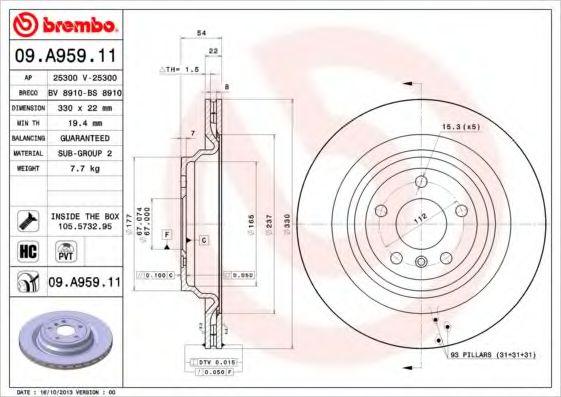 Диск гальмівний зад. (330mmx22mm) MERCEDES GLE W166 15- ML W166 11- BREMBO 09A95911