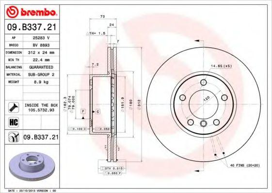 Тормозной диск  арт. 09B33721