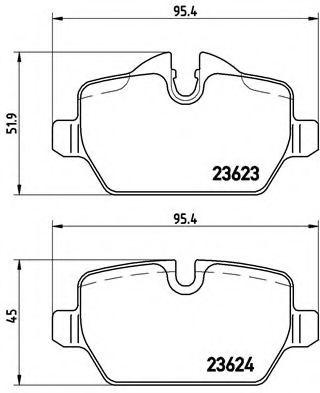 Гальмівні колодки диск.задні BMW 1 (E81), 3 (E90) 1.6i/1.8i/2.0 03-  BREMBO P06037