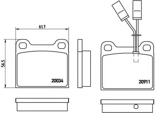 Комплект тормозных колодок, дисковый тормоз  арт. P23012