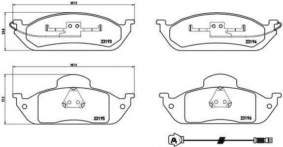 Колодки гальмівні дискові передні, комплект BREMBO P50039