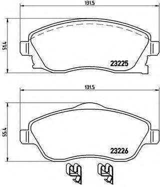 Колодки гальмівні дискові передні, комплект BREMBO P59036