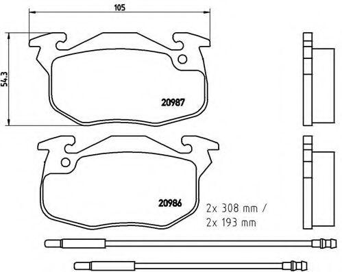 Колодки гальмівні дискові передні, комплект BREMBO P61044