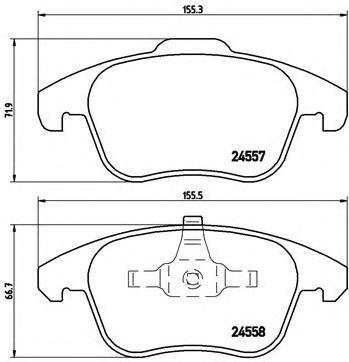 Гальмівні колодки диск.передні Citroen C4 Picasso, DS4/Peugeot 3008, 5008 1.6-2.0HDi 06-  BREMBO P61086