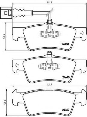 Гальмівні колодки дискові зад. VW Multivan, T5 1.9TDI/2.5TDI/3.2i V6 4-motion 04.03-11.09 BREMBO P85091