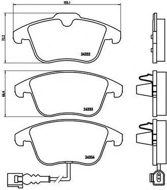 Тормозные колодки  дисковые, к-кт. BREMBO P85112