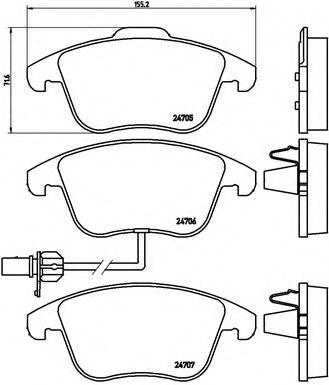 Тормозные колодки  дисковые, к-кт. BREMBO P85113