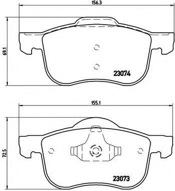 Тормозные колодки  дисковые, к-кт. BREMBO P86016