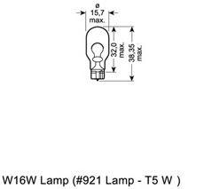 Лампа вспомогат. освещения W16W 12V 16W W2,1x9,5d (пр-во OSRAM)                                       арт. 921