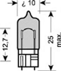 (к/т 2 шт) Автолампа Osram (5W 12V W2,1X9,5D)  арт. 2825HCBI02B