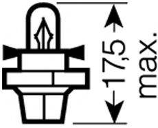 Лампа вспомогат. освещения BX8,4d 12V 1.2W BX8.4d (пр-во OSRAM) в интернет магазине www.partlider.com