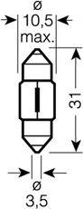 Автолампа Osram (10W 12V SV8,5 10,5x31)  арт. 6438