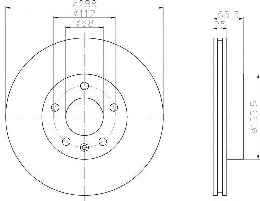 MINTEX  Диск тормозной перед. (вентил.) VW Sharan 95-; FORD Galaxy; SEAT (288*25 MINTEX MDC1017