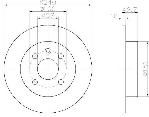 MINTEX  Диск тормозной задн. OPEL Astra G/H (240*10) (4-отверствия) MINTEX MDC1051