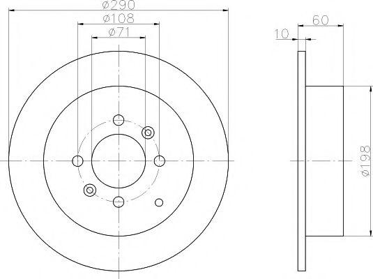 MINTEX   PEUGEOT Диск тормозной задний 406 MINTEX MDC1063