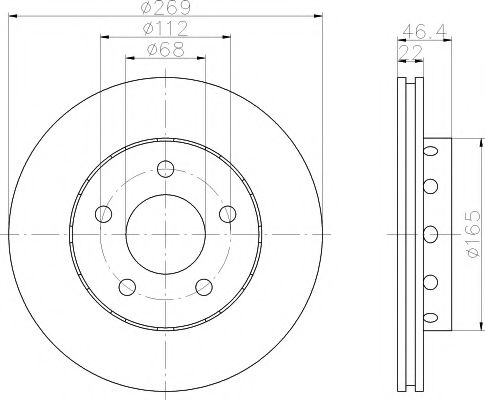 MINTEX  Диск тормозной задн.(вентил.) AUDI A8 96-01 (269*22) MINTEX MDC1420