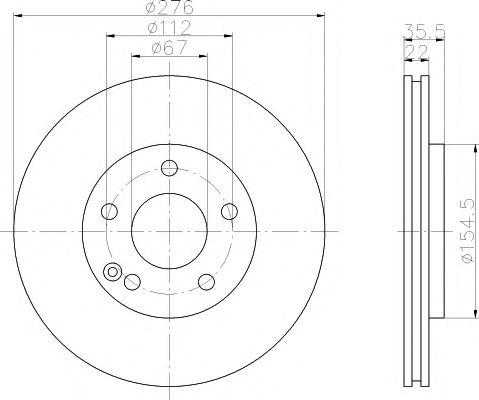 MINTEX   Диск тормозной перед. (вентил.) DB A-klasse (W168) 170CDI,190 MINTEX MDC1421