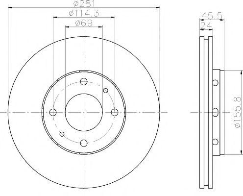 MINTEX  VOLVO Диск тормозной S40,Mitsubishi Carisma 98- MINTEX MDC1081