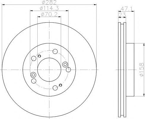 MINTEX  HONDA Диск тормозной передний CRV 97- 282 23 21 MINTEX MDC998