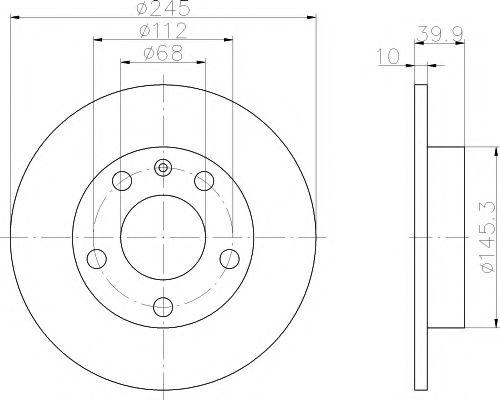 TARCZA HAM MINTEX MDC1523 AUDI A4 1.6 00-, 1.8T 02-, 1.9TDI 00-, 2.0FSI, 2.5TDI 02- 245X10MM MINTEX арт. MDC1523