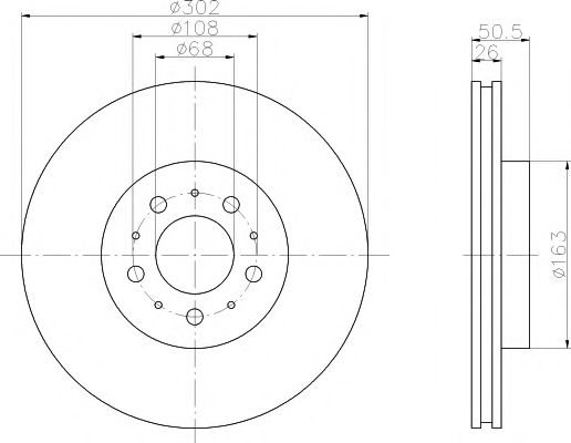MINTEX  VOLVO Диск тормозной пер.  S70,V70 97-00 MINTEX MDC1353