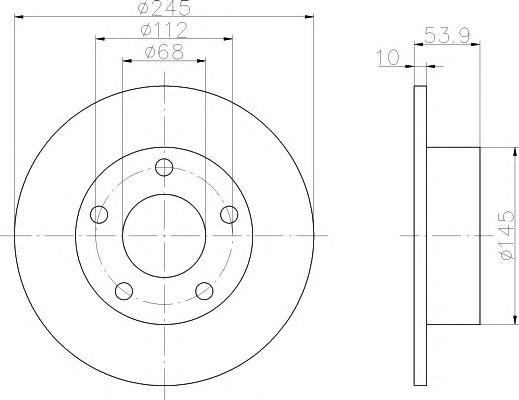 MINTEX  Диск тормозной задн. AUDI A6 quttro 97-04 (245*10) MINTEX MDC1358