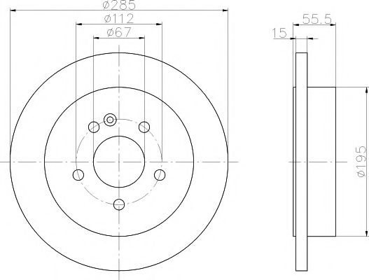 MINTEX  DB Диск тормозной W163 ML-klasa 98-00 задн. MINTEX MDC1360