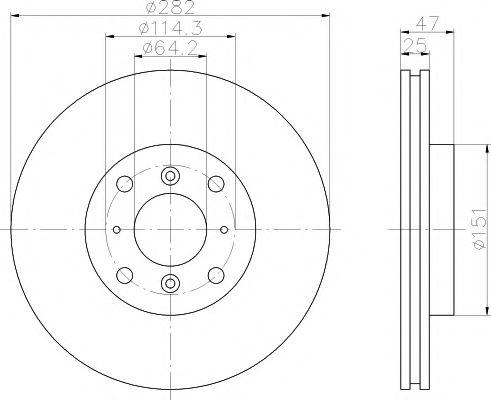 MINTEX   HONDA Диск тормозной передний ACCORD 1.8I 16V 98- MINTEX MDC1413