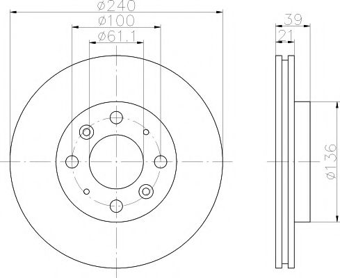 MINTEX  HONDA Диск тормозной передний Jazz 1,2-1,4 02-,  LOGO 1.3 99-02 MINTEX MDC1602