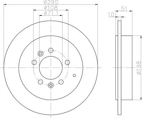 MINTEX  тормозной диск зад. PEUGEOT 607 -04 MINTEX MDC1496