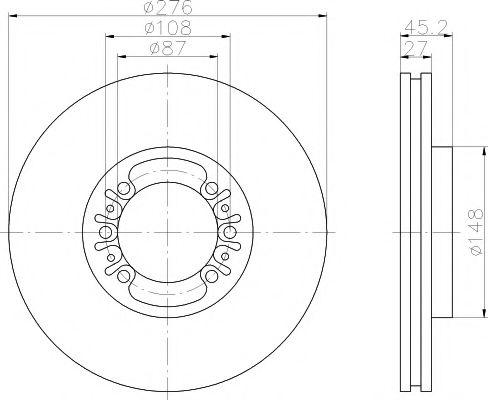 MINTEX  тормозной диск пер Pajero 3.5 -00 MINTEX MDC1294