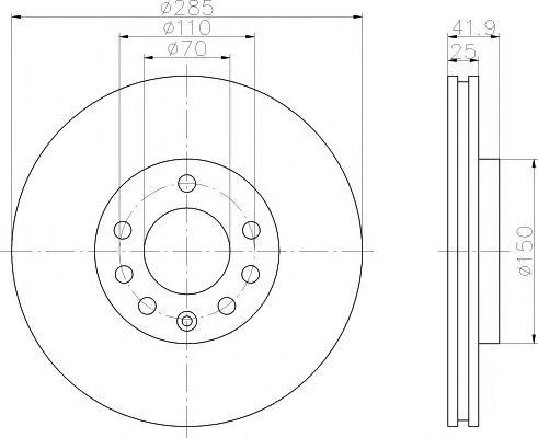 MINTEX  Диск тормозной перед.(вентил.) OPEL Vectra C FIAT Croma 05- SAAB 9-3 (285*25) MINTEX MDC1632