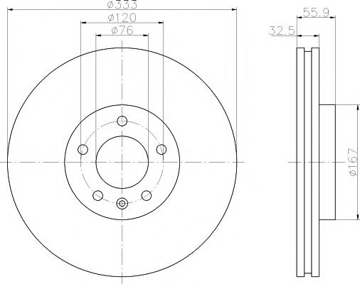 MINTEX   Тормозной диск пер VW T5 - (333*32.5) диаметр 17
