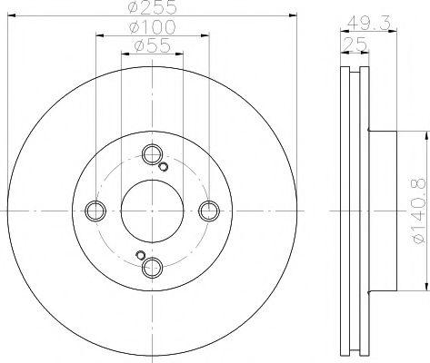 MINTEX  TOYOTA Диск тормозной передний COROLLA 02- MINTEX MDC1586