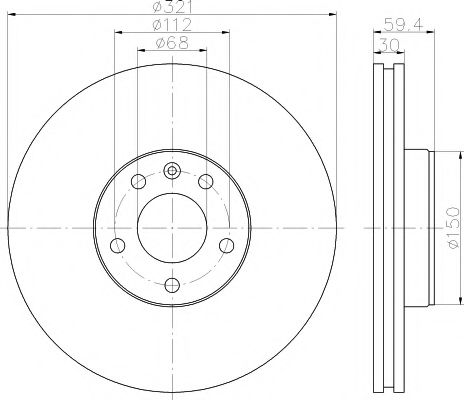 MINTEX  Диск тормозной пер. AUDI A6,A8 03- (321*30) MINTEX MDC1743