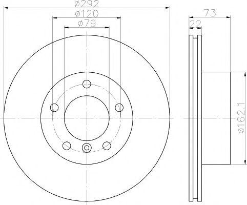 MINTEX  Диск тормозной передний BMW E81/E87/E88/E90 05- MINTEX MDC1646