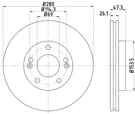 MINTEX  Диск тормозной пер. HYUNDAI Tucson, Sonata 04- Kia Magentis MINTEX MDC1780