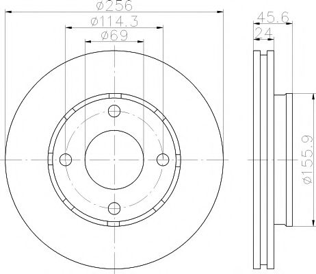 MINTEX  Тормозной диск пер MITSUBISHI Colt 04- (256*24) MINTEX MDC1753