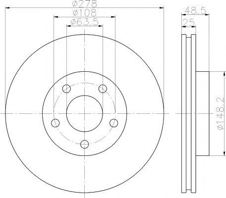 MINTEX  Диск тормозной пер. Ford Focus, Focus C-Max 03- 1,6-1,8 03-  (278*25) MINTEX MDC1637