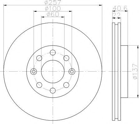 MINTEX  OPEL Тормозной диск передний Corsa D 06-, FIAT GRANDE PUNTO 05- MINTEX MDC1735