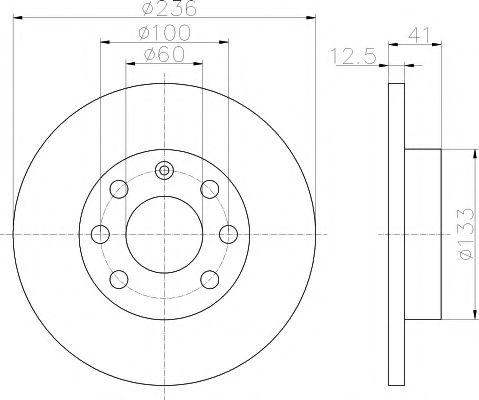 MINTEX  OPEL Диск тормозной передний KADETT 1.6-1.6D MINTEX MDC266